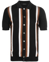 Camisa de manga corta de rayas verticales negra de Tagliatore