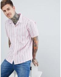Camisa de manga corta de rayas verticales rosada de ASOS DESIGN