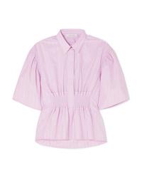 Camisa de manga corta de rayas verticales rosada de Cédric Charlier