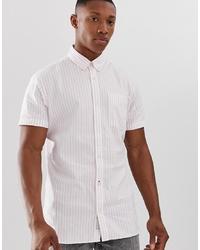 Camisa de manga corta de rayas verticales rosada de Jack & Jones