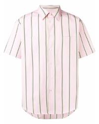 Camisa de manga corta de rayas verticales rosada de MSGM
