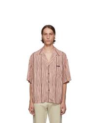 Camisa de manga corta de rayas verticales rosada de Prada