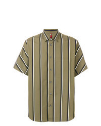 Camisa de manga corta de rayas verticales verde oliva