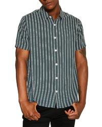 Camisa de manga corta de rayas verticales verde oscuro