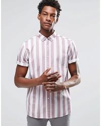 Camisa de manga corta de rayas verticales violeta claro de Asos