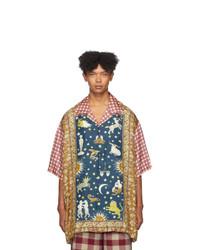 Camisa de manga corta de seda a cuadros en multicolor de Gucci