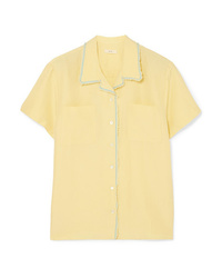 Camisa de manga corta de seda amarilla de Matin