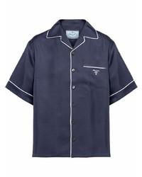 Camisa de manga corta de seda azul marino de Prada