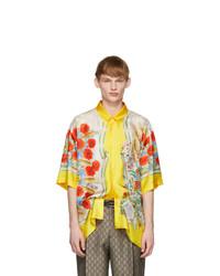 Camisa de manga corta de seda con print de flores amarilla de Gucci