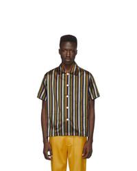 Camisa de manga corta de seda de rayas verticales en multicolor de Bode