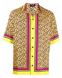 Camisa de manga corta de seda estampada amarilla de Versace