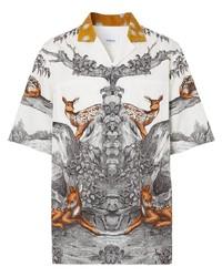 Camisa de manga corta de seda estampada blanca de Burberry