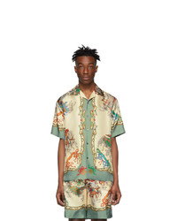 Camisa de manga corta de seda estampada blanca de Gucci