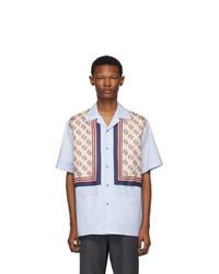 Camisa de manga corta de seda estampada celeste de Gucci