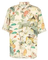 Camisa de manga corta de seda estampada en beige de Etro