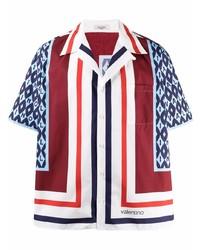 Camisa de manga corta de seda estampada en multicolor de Valentino