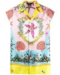 Camisa de manga corta de seda estampada en multicolor de Versace