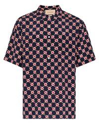 Camisa de manga corta de seda estampada negra de Gucci