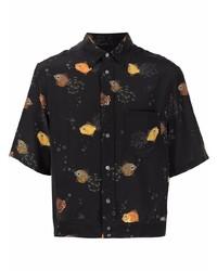 Camisa de manga corta de seda estampada negra de Lanvin