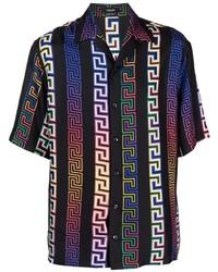 Camisa de manga corta de seda estampada negra de Versace