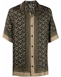 Camisa de manga corta de seda estampada verde oliva de Versace