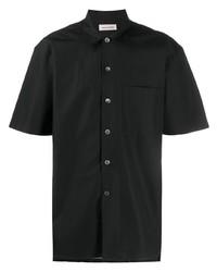 Camisa de manga corta de seda negra de Alexander McQueen