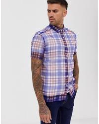 Camisa de manga corta de tartán azul de ASOS DESIGN