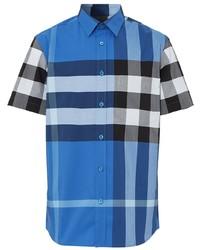 Camisa de manga corta de tartán azul de Burberry