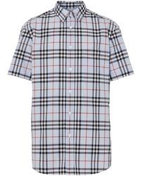 Camisa de manga corta de tartán celeste de Burberry
