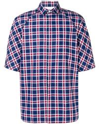Camisa de manga corta de tartán en blanco y rojo y azul marino