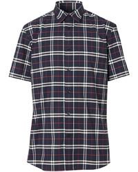 Camisa de manga corta de tartán en blanco y rojo y azul marino de Burberry