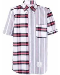 Camisa de manga corta de tartán en blanco y rojo y azul marino de Thom Browne