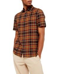 Camisa de manga corta de tartán en multicolor