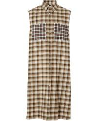 Camisa de manga corta de tartán marrón claro de Burberry