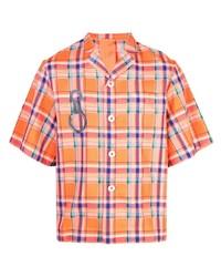 Camisa de manga corta de tartán naranja de Angus Chiang
