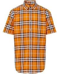 Camisa de manga corta de tartán naranja de Burberry