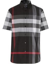 Camisa de manga corta de tartán negra de Burberry