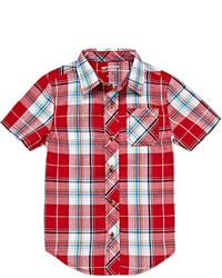 Camisa de manga corta de tartán roja