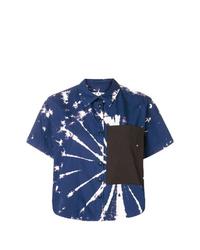 Camisa de manga corta efecto teñido anudado en azul marino y blanco de Proenza Schouler