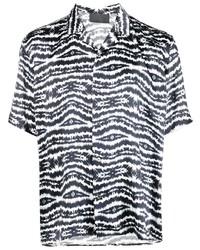Camisa de manga corta efecto teñido anudado en negro y blanco de Philipp Plein