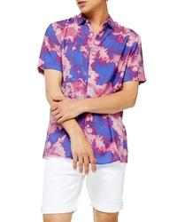 Camisa de manga corta efecto teñido anudado rosada