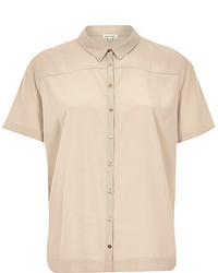 Camisa de manga corta en beige