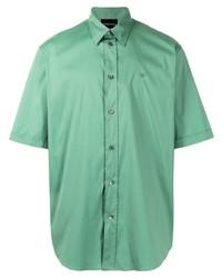Camisa de manga corta en verde menta de Emporio Armani