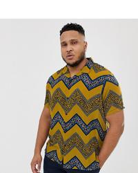 Camisa de manga corta en zig zag mostaza de ASOS DESIGN