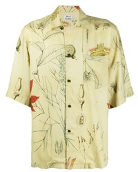 Camisa de manga corta estampada amarilla de Acne Studios