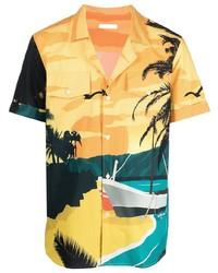 Camisa de manga corta estampada amarilla de Balmain