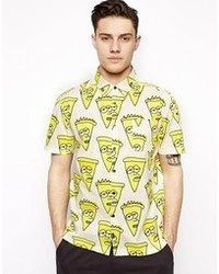 Camisa de manga corta estampada amarilla
