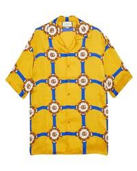 Camisa de manga corta estampada amarilla de Gucci