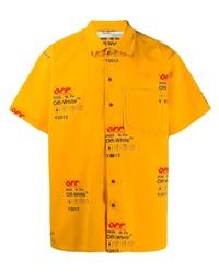 Camisa de manga corta estampada amarilla de Off-White