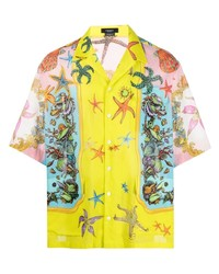 Camisa de manga corta estampada amarilla de Versace